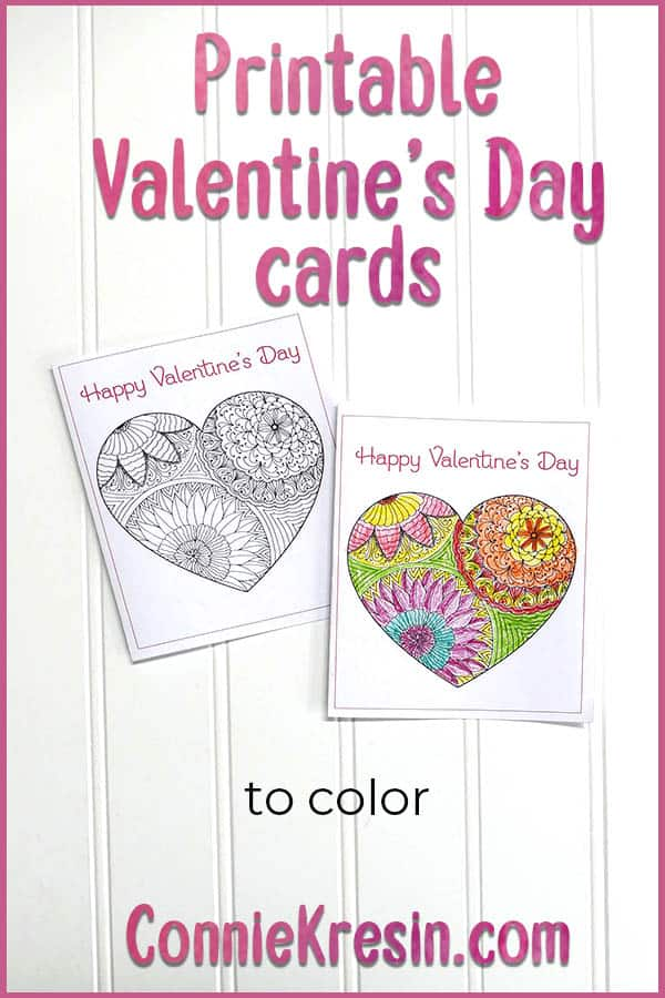 free Printable Valentine's Day Cards to Color