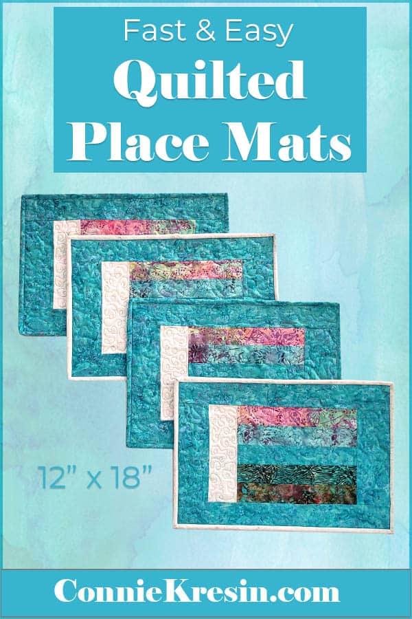 Teal Batik place mats for the Island Batik February challenege Magnificent Minis