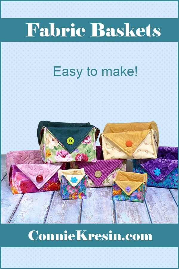 Fat Quarter Fabric Baskets easy to make tutorial