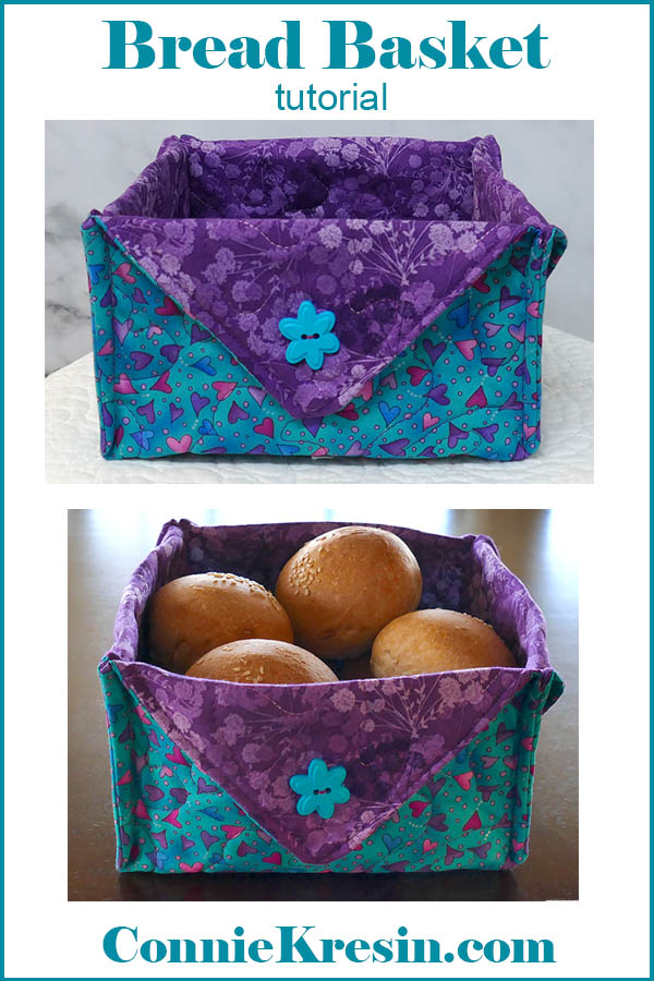 Fabric Basket tutorial that make s a great basket for dinner rolls and bread
