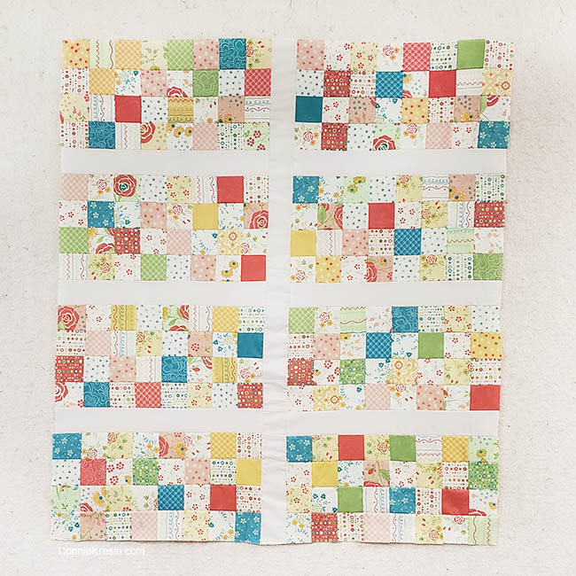 Easy Baby Block Quilt for Beginners tutorial sashing