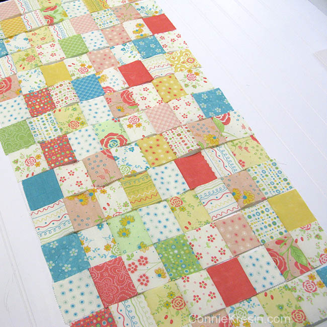Easy Baby Block Quilt for Beginners tutorial rows sewn long rows