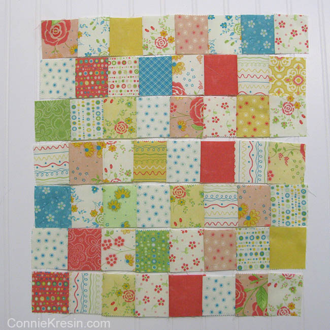 Easy Baby Block Quilt for Beginners tutorial rows sewn