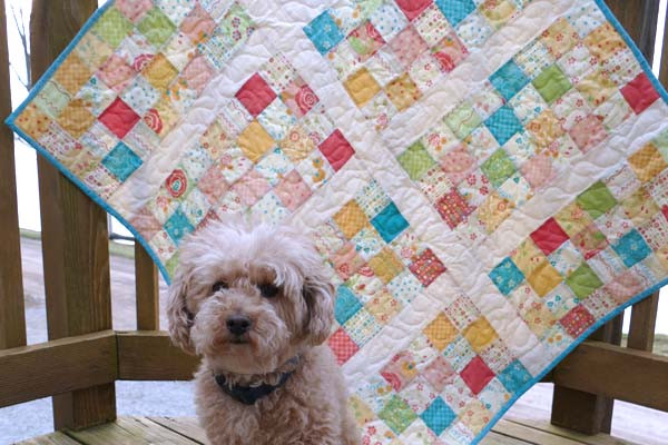 Easy Charm Square Baby quilt tutorial