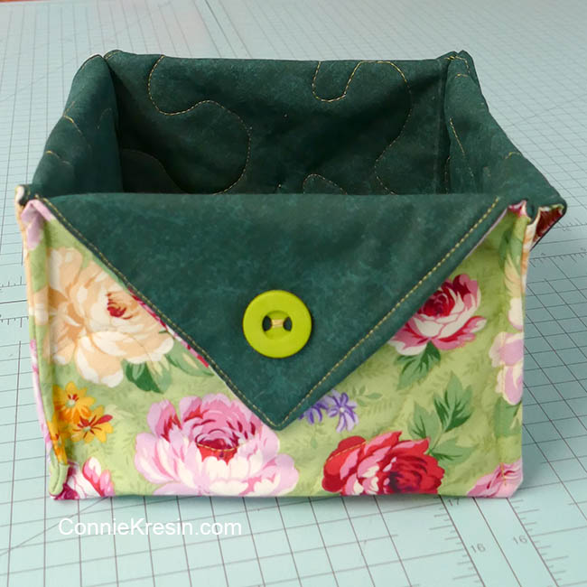 Fat quarter fabric basket tutorial green floral basket
