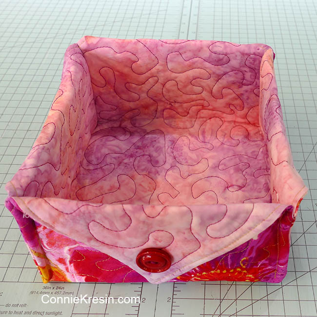 Fat quarter fabric basket tutorial pink floral basket inside