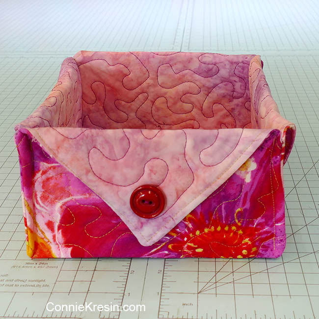 Fat quarter fabric basket tutorial pink floral basket