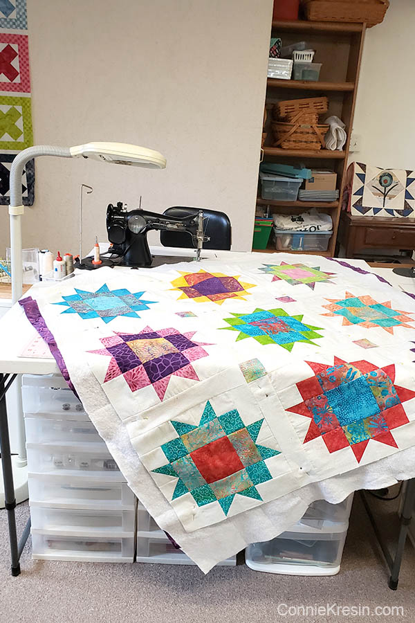 Maple Star quilt being quilted on vintage singer sewing machine