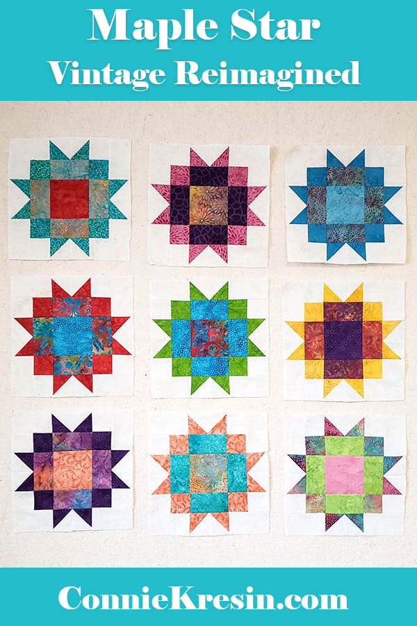 Maple Star Quilt Vintage reimagined quilt blocks made with Island Batik fabrics