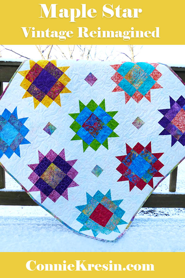 Maple Star quilt Vintage reimagined made with Island Batik fabrics