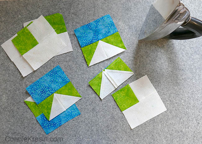 Wool Ironing Mat for quilting with batik blocks