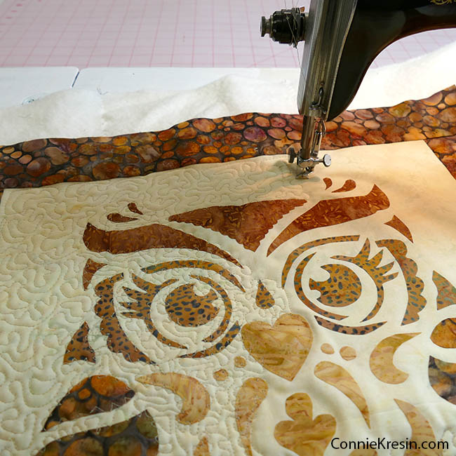 Owl Stenciled quilted wall hanging free motion quilting the applique and quilt