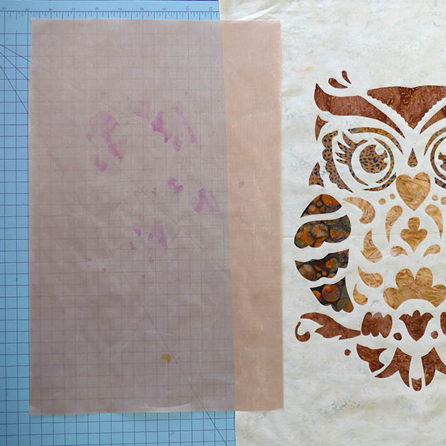 Owl Stenciled quilted wall hanging fusing applique