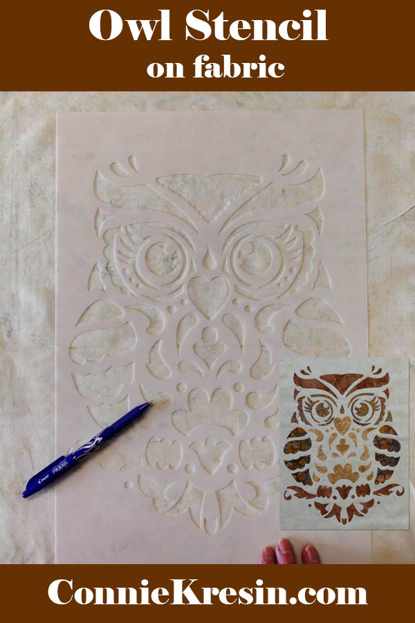 Owl Stenciled quilted wall hanging with batik applique and Stencil Revolution stencil