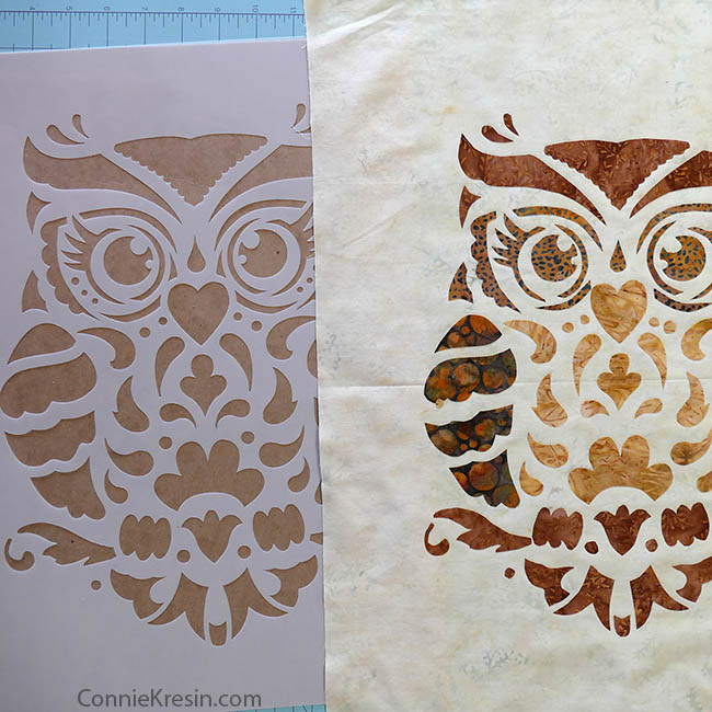 Owl Stencil Quilted Wall Hanging Stencil Revolution stencil