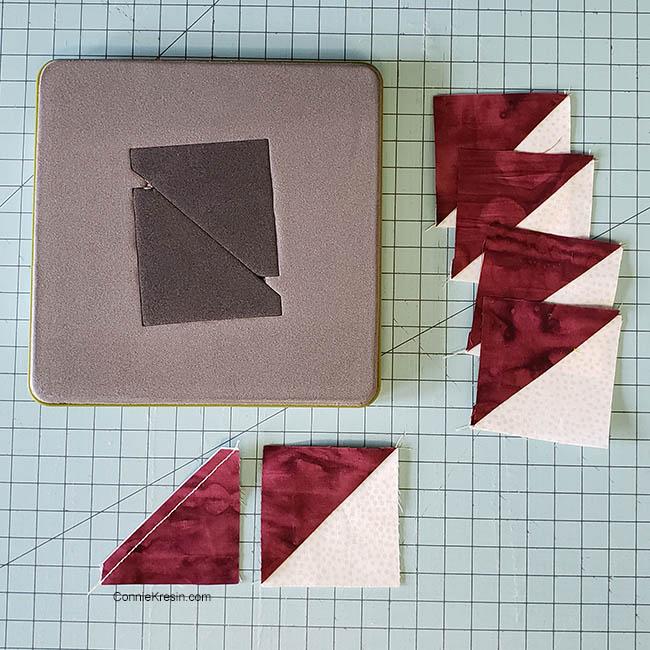 Baby Quilt made with AccuQuilt Qube die HST quilt blocks
