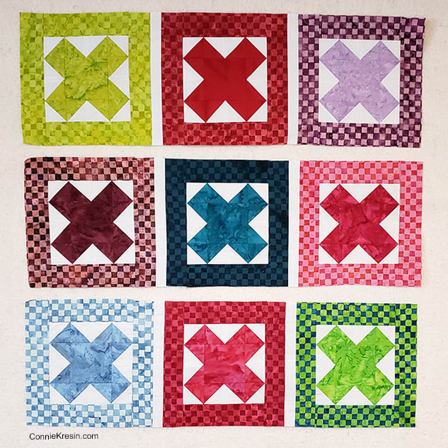 Baby Quilt made with AccuQuilt Qube die and Island Batik fabrics