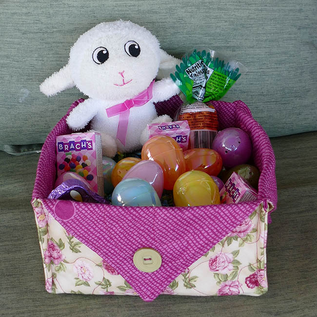 Fabric Easter Basket with candy and rolls