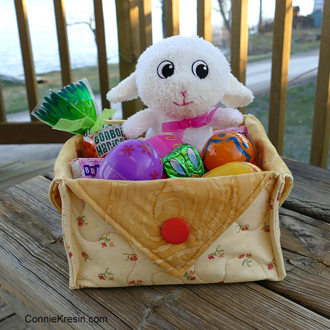 Yellow fabric Easter Basket