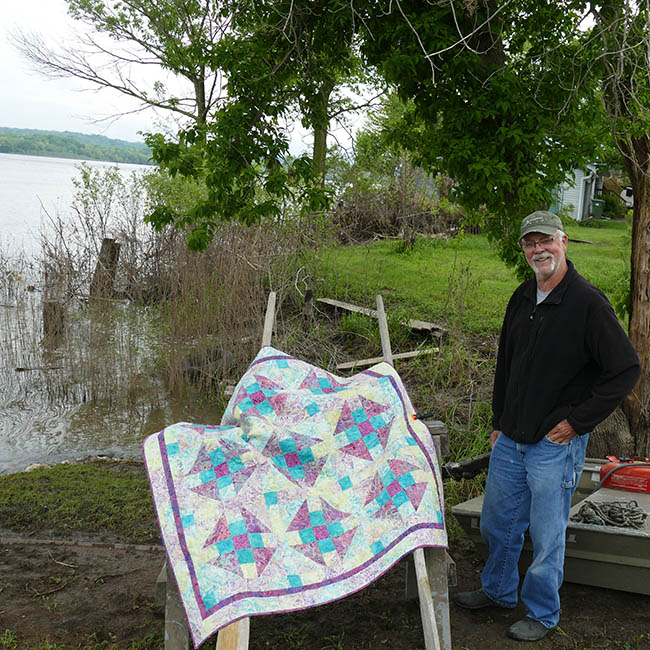 Luna baby quilt down by the Mississippi river