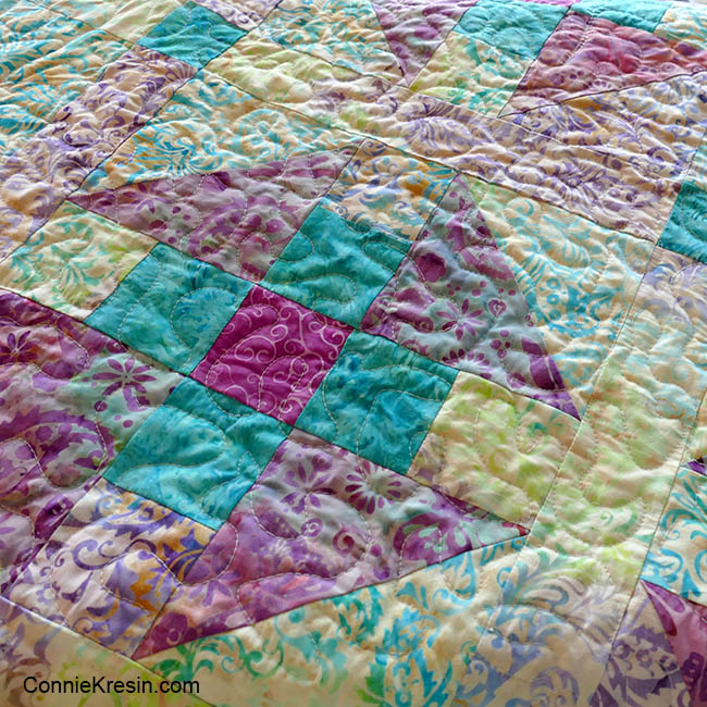 Closeup of quilting on the Luna baby quilt