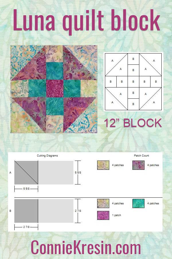 Luna baby quilt block cutting sizes