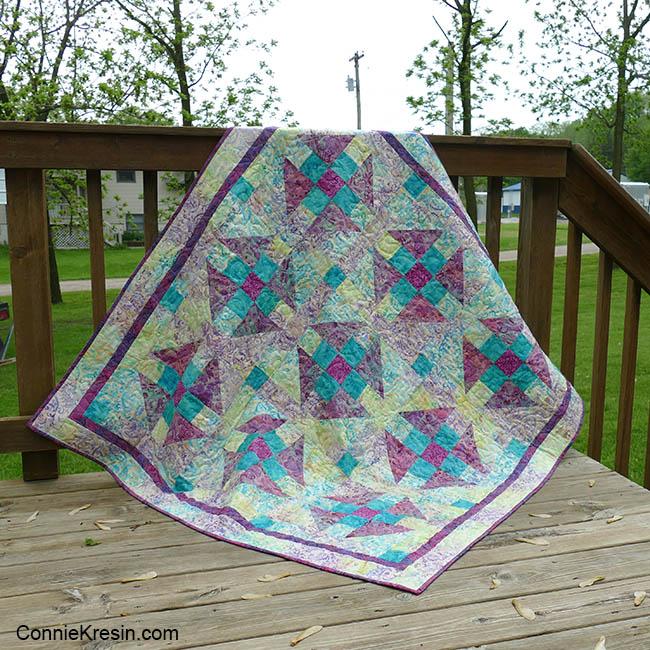 Luna Baby quilt on the deck