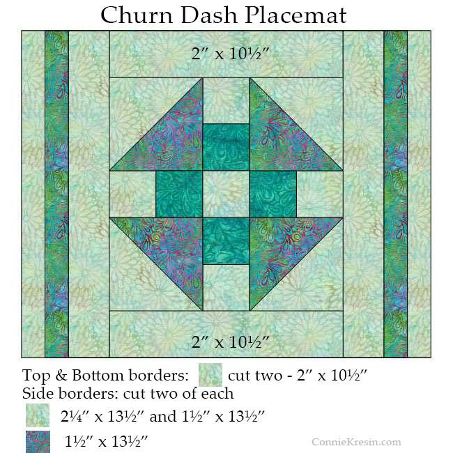 Churn Dash quilt block placemats adding borders diagram