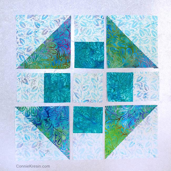 Churn Dash quilt block placemats tutorial half square triangle blocks