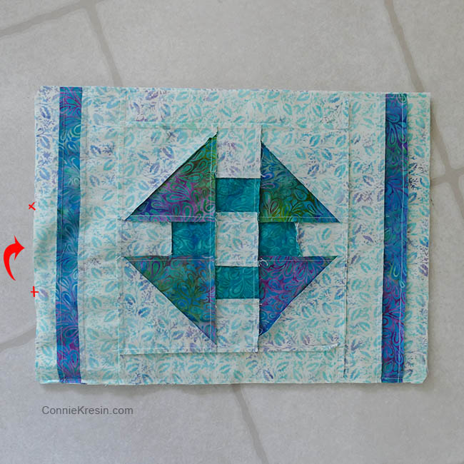 Churn Dash quilt block placemats tutorial inside out