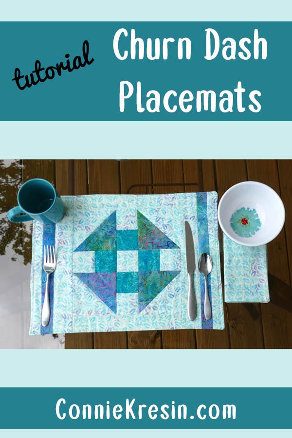 Churn Dash quilt block placemats tutorial