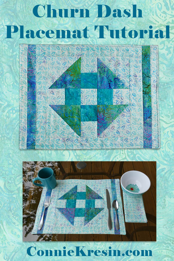 Churn Dash Quilted placemat tutorial
