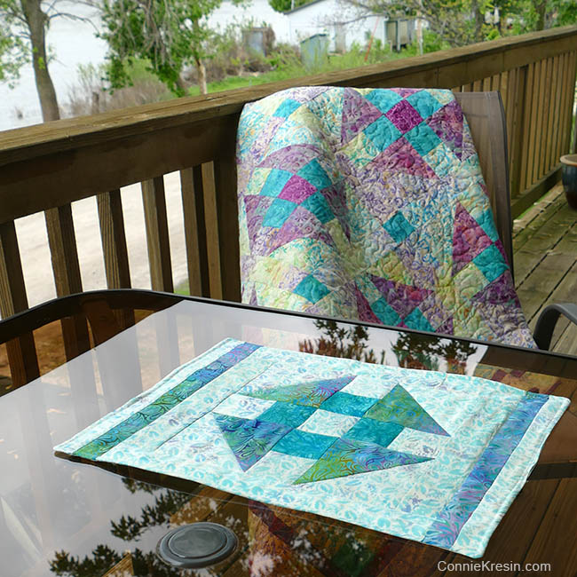 Churn Dash quilt block placemats tutorial and quilt
