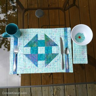 Churn Dash quilt block placemats tutorial