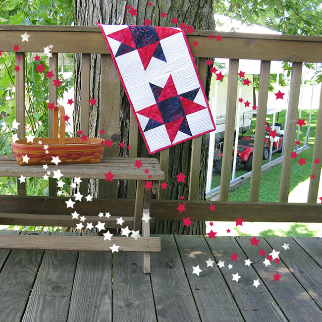 Tutorial for a Spinning Star quilted tablerunner perfect for the 4th of July