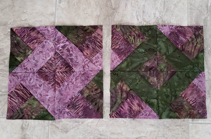 How to sew the Hidden Wells quilt block with 4 strips