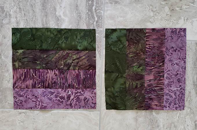 4 strip Hidden Wells quilt block in purples and greens