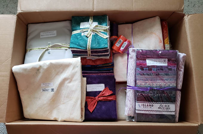 Island Batik Amabassador box of fabrics and other goodies