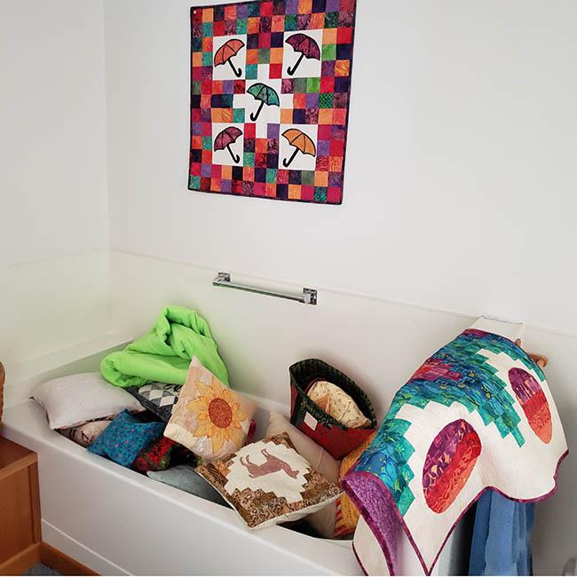 Bathtub full of pillows