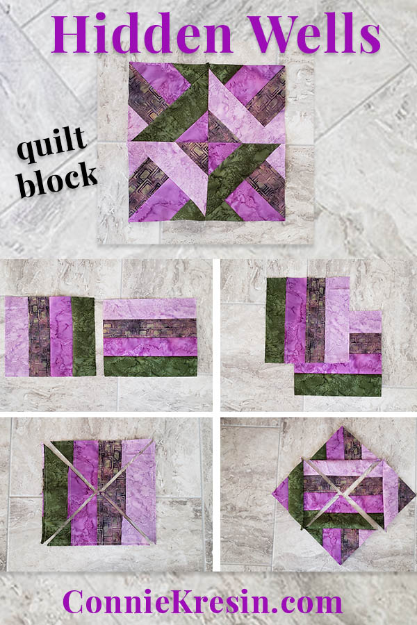 """Easy to make Hidden Wells quilt block using 4 strips of fabric following this easy tutorial"""""""