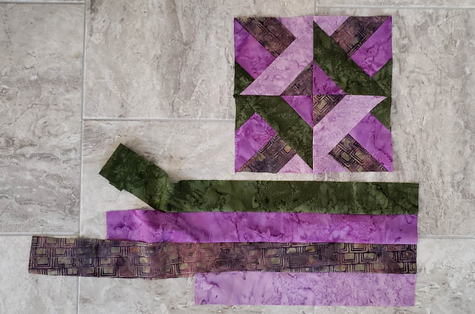 How to sew the Hidden Wells quilt block with 4 strips leftover fabric