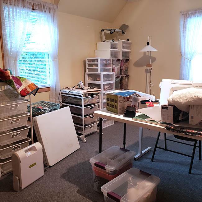 Quilt room looks like storage area