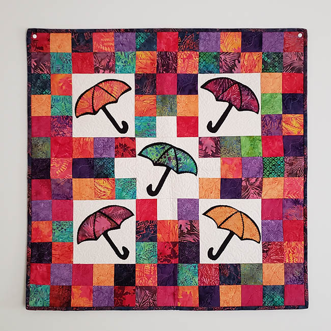 April Showers quilted batik wall hanging