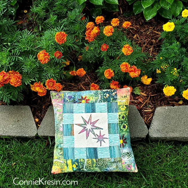 Eight Point Applique Star pillow tutorial with marigolds