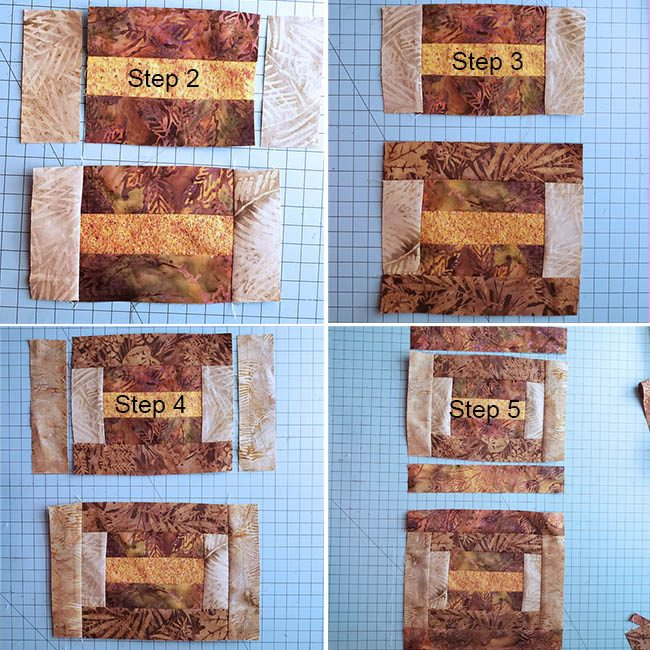 Log cabin placemat tutorial add the batik strips of fabric