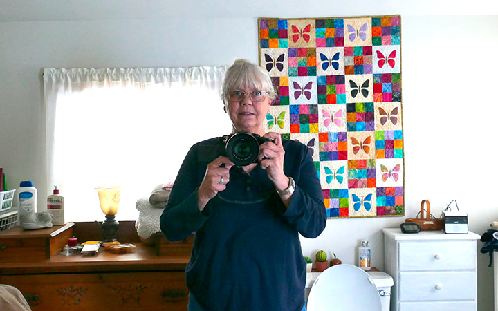 Me in the quilt bathroom