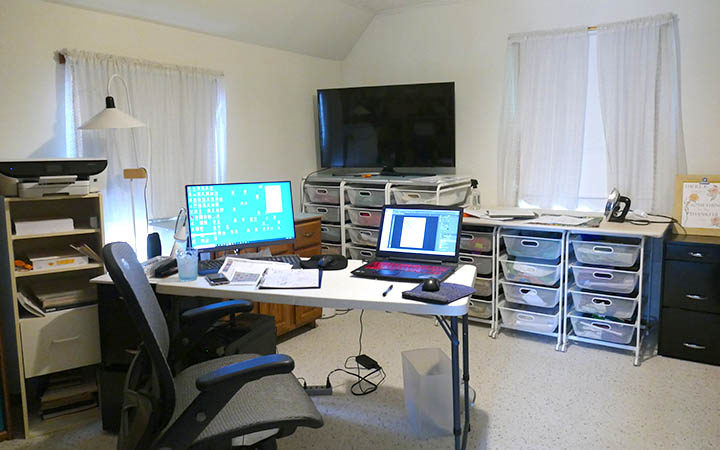 Upstairs office and fabric storage