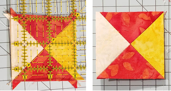 Ohio Star Table Runner in fiery orange Tutorial cutting quarter square triangles trimmed