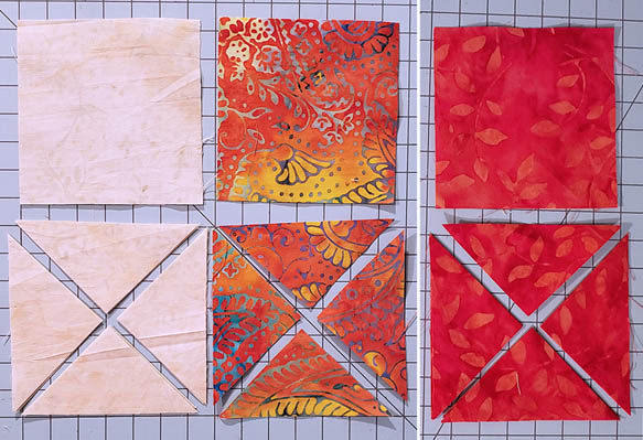 Ohio Star Table Runner in fiery orange Tutorial cutting quarter square triangles