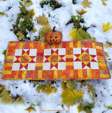 Ohio Star Table Runner in fiery orange Tutorial